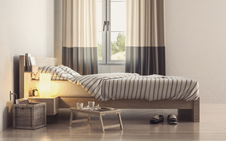 Bed with striped linens near bright window with portable coffee table in minimalist interior design bedroom with white walls. 3d Rendering.