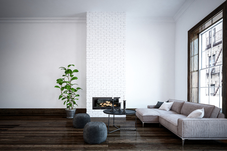 interior walls: Minimalist modern simple living room interior with comfortable couch and two pouffes in front of a fire insert in a feature white brick wall, large window and dark parquet floor. 3d Rendering.