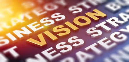 business focus: Bright sunny flare above the word vision. Business and strategy in partial focus surrounding it. 3d Rendering.