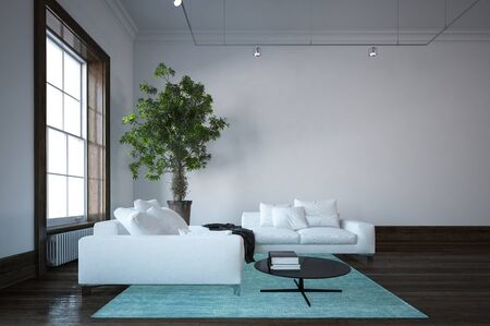 luxury house: Spacious living room minimalist design interior with white couches, green carpet and indoor plant near huge window. Copy space. 3d Rendering.