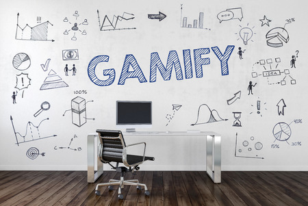 GAMIFY | Desk in an office with symbols. 3d Rendering.