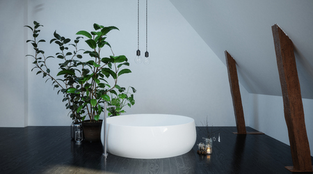 Freestanding circular white bathtub in a small compact bathroom corner in an attic or loft conversion with exposed wood beams and potted plant. 3d rendering.