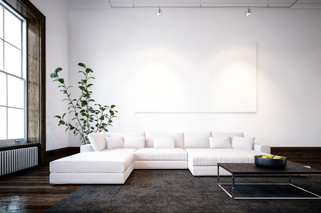 Large spacious modern minimalist living room interior with cream sofas and a large window and overhead spotlights lighting a blank wall canvas for your art. 3d Rendering.