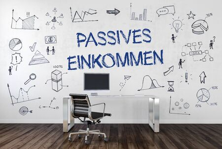 passive: PASSIVE INCOME (German Passives Einkommen) | Desk in an office with symbols. 3d Rendering.
