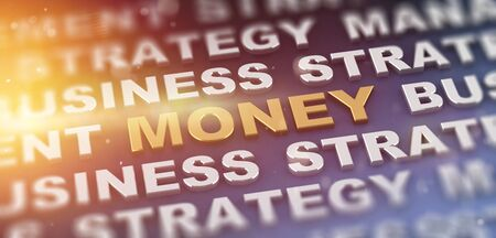 Bright sunny theme with money text surrounded by repeating words for business and strategy. 3d Rendering.