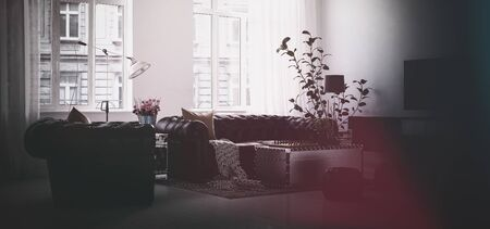 case moderne: Darkened image of modern living room in city apartment building with indoor plant, couch and huge bright windows. 3d Rendering.