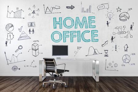HOME OFFICE | Bureau in een kantoor met symbolen. 3D-rendering. Stockfoto