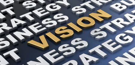 Vision in gold surrounded by white words over blue background for concept about business. 3d Rendering. Stock Photo