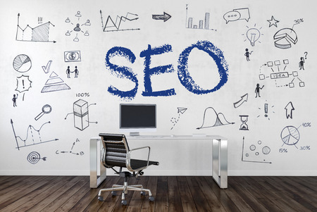 SEO | Desk in an office with symbols. 3d Rendering.