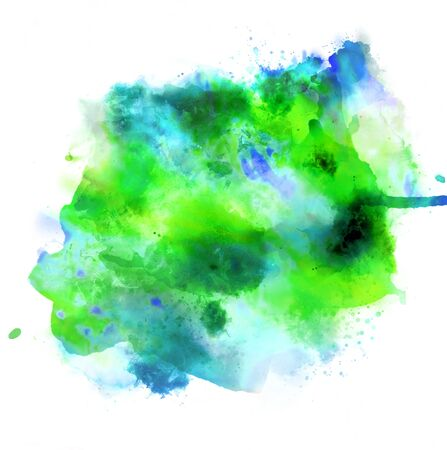 Green and blue bright watercolor spots isolated on white. Background design concept