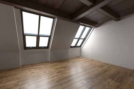 Empty interior of a converted attic with sloping windows, exposed beams and wood ceiling and hardwood parquet floor, 3d render