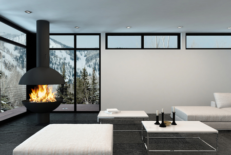 modern apartment: Fire roars in modern corner fireplace of luxury apartment in the mountains