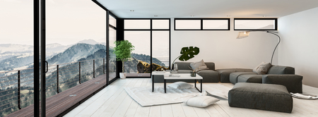 overlooking: Large modern glass walled living room interior overlooking mountain peaks and valleys with a grey lounge suite, coffee table and outdoor balcony. 3d rendering. Stock Photo