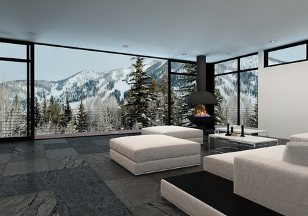 windows home: Minimalist luxury home interior in the mountains with large wrap around floor to ceiling view windows overlooking snowy peaks and stylish white furniture with ottomans, 3d render Stock Photo