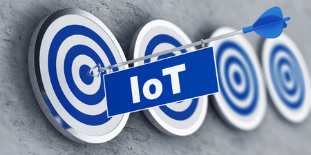 Internet of Things (IoT) concept with a banner on an arrow penetrating the center bulls eye on a target. 3d Rendering.