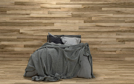 throws: Untidy messy bed in a room with a feature wooden wall over a hardwood parquet floor in a modern minimalist interior. 3d rendering.