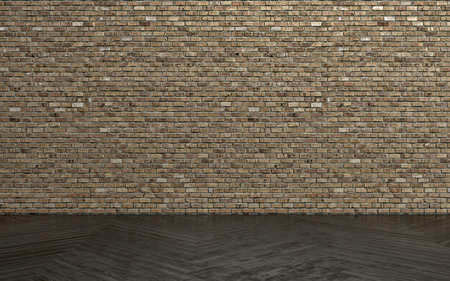 wood floor: Unpainted brick wall and dark parquet floor as interior background concept. Copy space