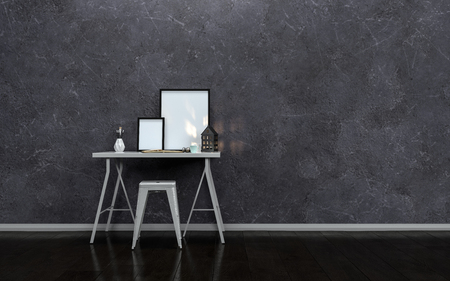 textured wall: Small modern writing table or desk with blank picture frames and a stool against a textured dark grey wall in a minimalist interior 3d rendering Stock Photo