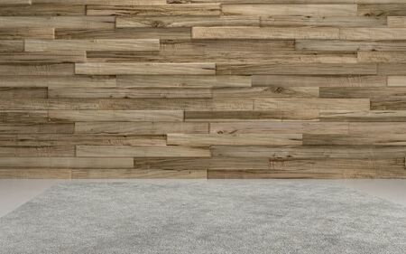 grey: Rendered wooden wall of horizontal unpainted boards and grey floor, background concept with copy space Stock Photo