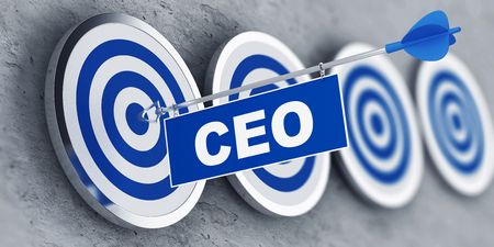 chief executive officer: Chief Executive Officer (CEO) concept with a banner on an arrow penetrating the center bulls eye on a target. 3d Rendering.