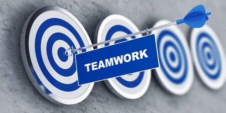 Teamwork concept with a banner on an arrow penetrating the center bulls eye on a target. 3d Rendering. Stock Photo