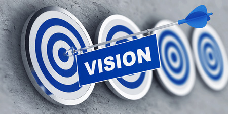 penetrating: Vision concept with a banner on an arrow penetrating the center bulls eye on a target. 3d Rendering. Stock Photo