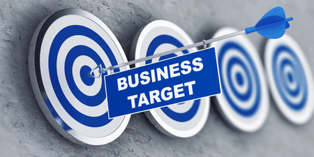 Business target concept with a banner on an arrow penetrating the center bulls eye on a target. 3d Rendering.