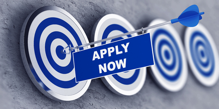 Apply now concept with a banner on an arrow penetrating the center bulls eye on a target. 3d Rendering. Stock Photo