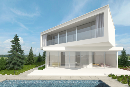 offset view: Exterior 3d rendered view of a white upmarket designer home with swimming pool and offset floors at angles to each other surrounded by young conifers