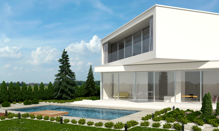 offset view: Architect designed home with offset floors angled in different directions in a neat landscaped garden against a forest backdrop on a sunny day. 3d rendering.