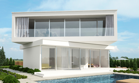 offset view: Contemporary modern white house design with offset floors set at angles to each other overlooking a tranquil swimming pool on a sunny day. 3d rendering.