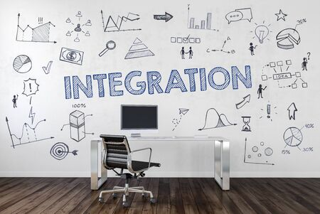 INTEGRATION | Desk in an office with symbols. 3d Rendering.