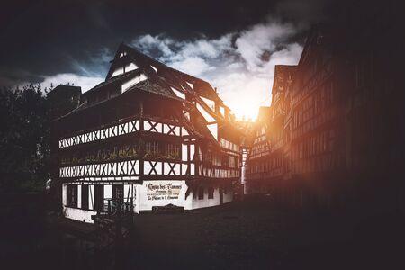 river: STRASBOURG (FRANCE) - 13 April 2017: Petite France historic quarter of the city of Strasbourg in Alsace, eastern France