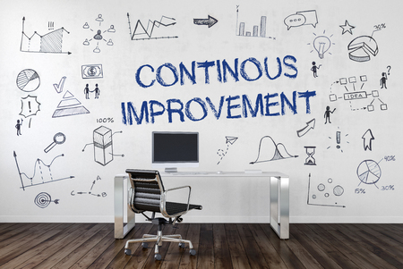 cip: CONTINUOUS IMPROVEMENT   Desk in an office with symbols. 3d Rendering.