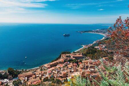 popular: Aerial view and cityscape of Taormina, Sicily, Italy Stock Photo
