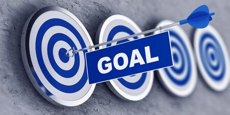 hitting: Goal concept with a banner on an arrow penetrating the center bulls eye on a target. 3d Rendering.