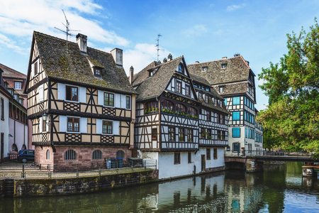 popular: STRASBOURG (FRANCE) - 13 April 2017: Petite France historic quarter of the city of Strasbourg in Alsace, eastern France