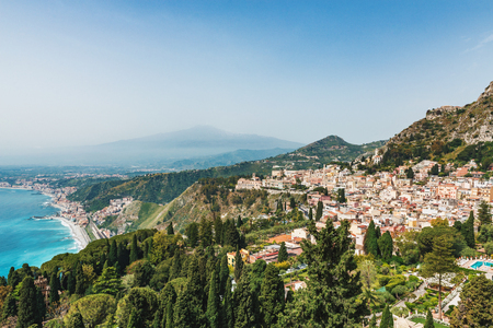 Aerial view and cityscape of Taormina, Sicily, Italy Stock Photo