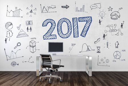 scribbling: 2017 | Desk in an office with symbols. 3d Rendering. Stock Photo