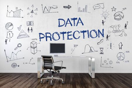 scribbling: DATA PROTECTION | Desk in an office with symbols. 3d Rendering.