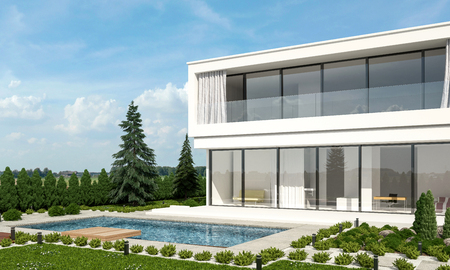 home: Contemporary luxury white double storey villa with neat landscaped garden and swimming pool with a sunny outdoor patio surrounded by evergreen fir trees. 3d Rendering.