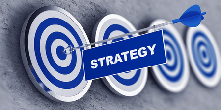 Strategy concept with a banner on an arrow penetrating the center bulls eye on a target. 3d Rendering.