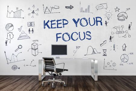 KEEP YOUR FOCUS | Desk in an office with symbols. 3d Rendering.
