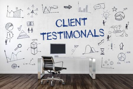 CLIENT TESTIMONIAL | Desk in an office with symbols. 3d Rendering.