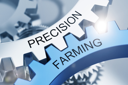 word: Precision Farming concept with intermeshed blue and silver cogs on gears with black text in a close up view. 3d Rendering.