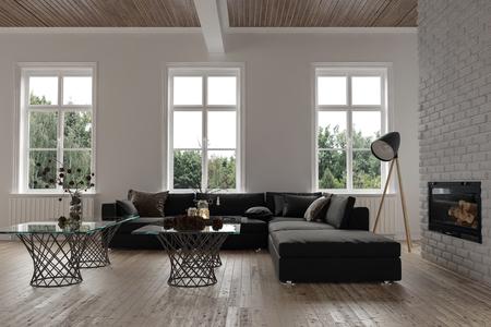 3 개의 창문, 대형 모듈 식 소파, 램프 및 벽에 라디에이터가 달린 굴뚝 화재 삽입물 앞에있는 유리 커피 테이블이있는 현대적인 거실 실내의 편안한 코