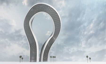 Curved large abstract modern futuristic skyscraper concept with cloudscape background. 3d Rendering.