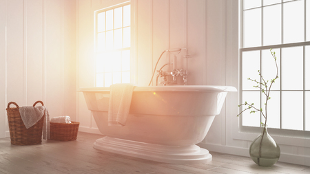 Modern white bathroom interior with a bright glowing sunbeam and flare coming through a large window lighting up the freestanding boat-shaped tub. 3d rendering. Stock Photo