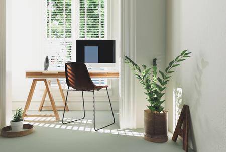 単色ホワイト ホーム オフィスまたは単純なテーブル デスク コンピューターと 3 d 描画の明るい太陽に照らされた床の間の鉢植えな植物が研究室内