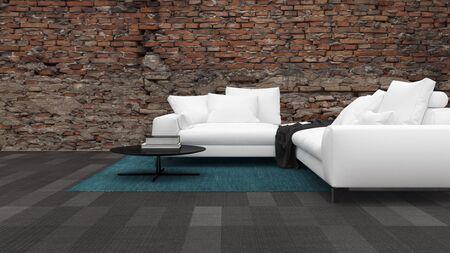 거친 돌 효과 벽에 대 한 기와 바닥에 큰 흰색 소파와 거실 인테리어 파노라마보기. 3d 렌더링입니다. 스톡 콘텐츠